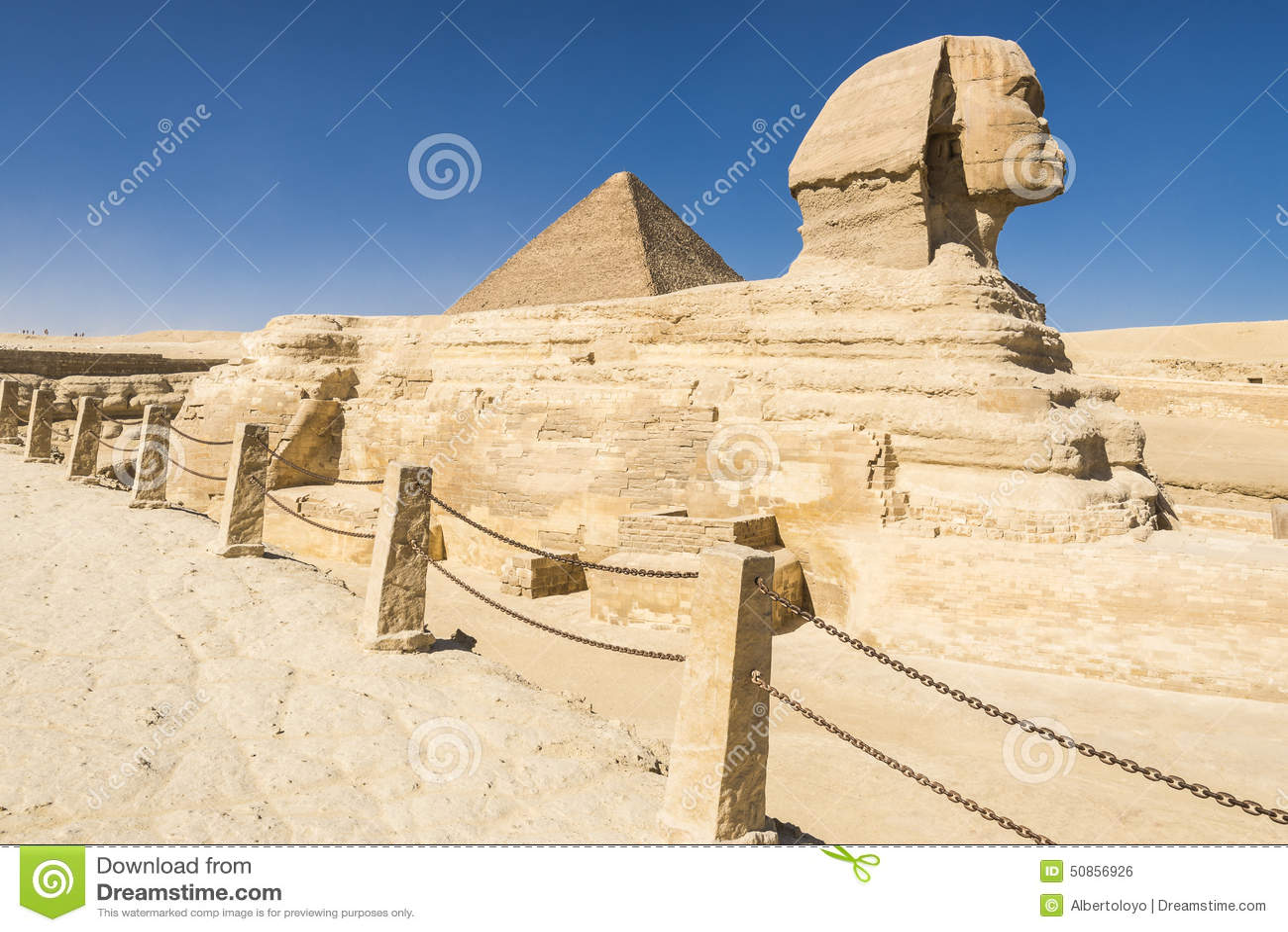 Sphinx And Great Pyramid Of Pharaoh Khufu, Giza (Egypt