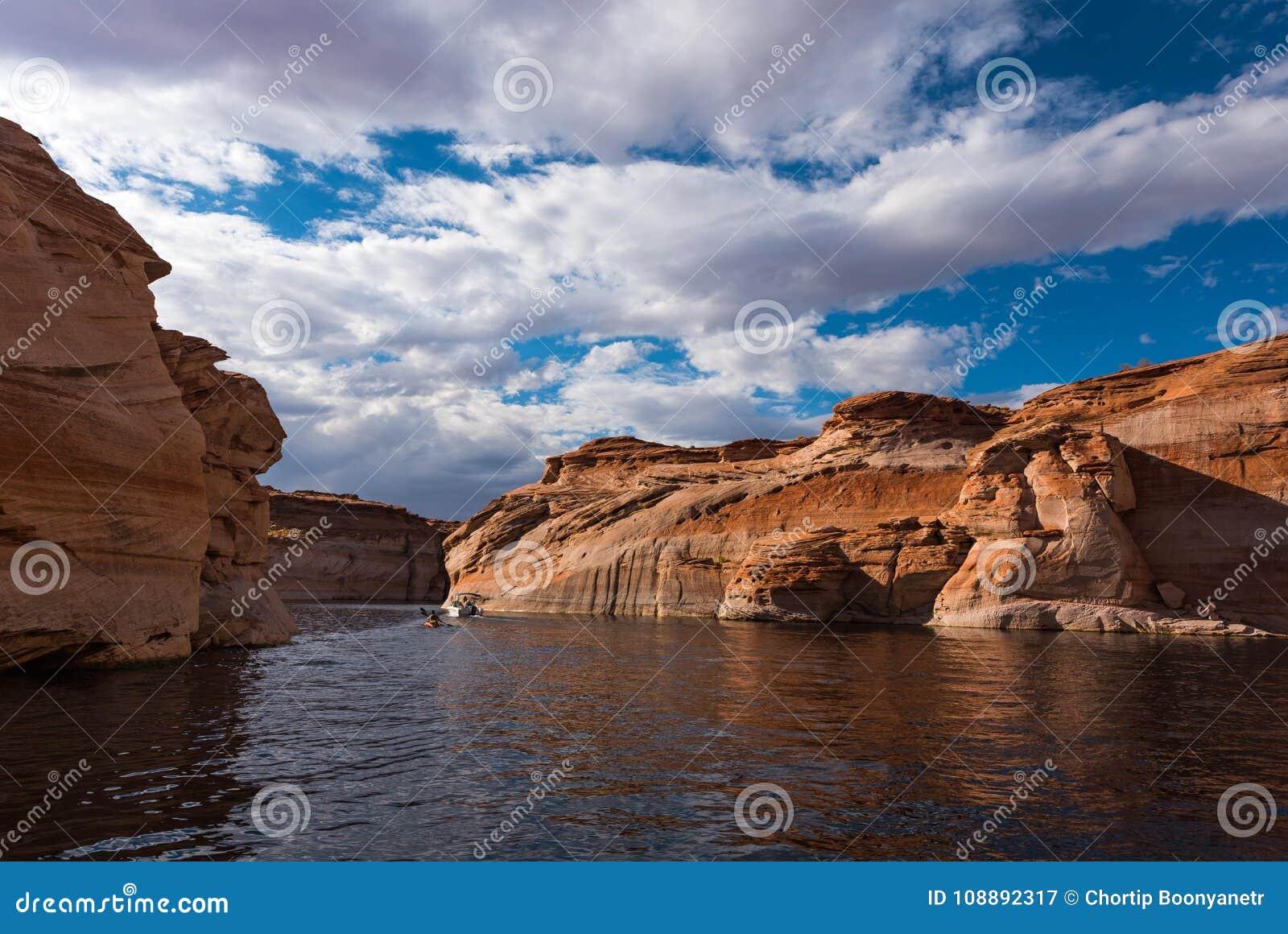 Sphinx like stone wall in Lake Powell