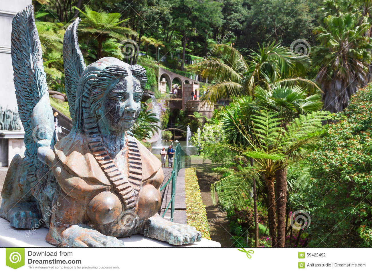 Funchal Garden Island Madeira Monte Palace Portugal Sculpture Sphinx ...