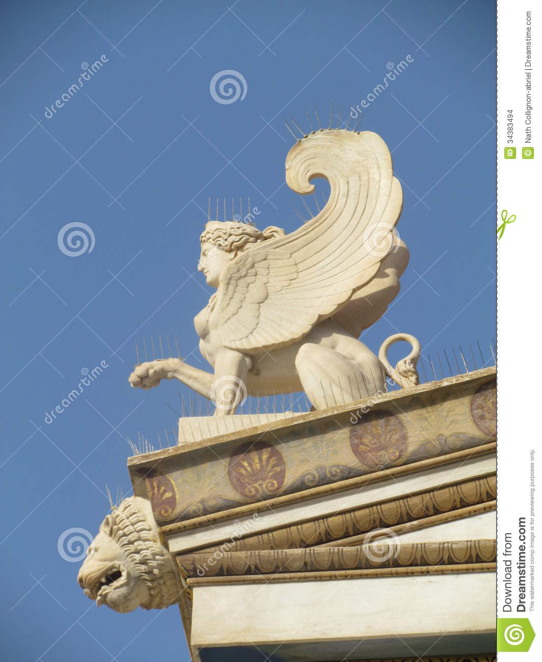 sphinx statue on the top of academy,in Athens, Greece.In Greek ...