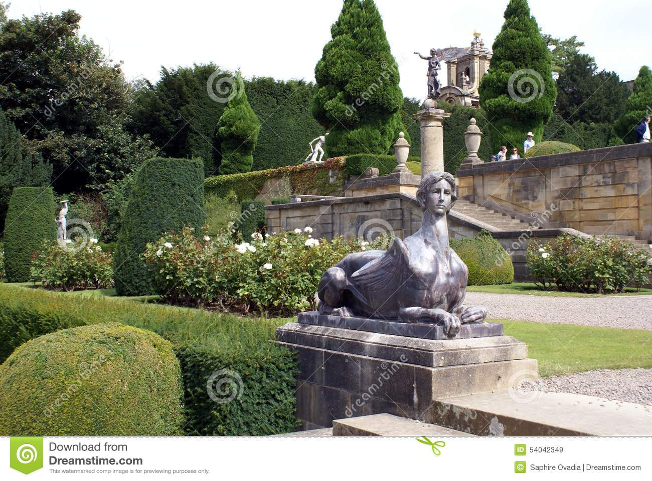 Blenheim British Built England Garden Landmark Oxfordshire Palace Sphinx  Statue ...