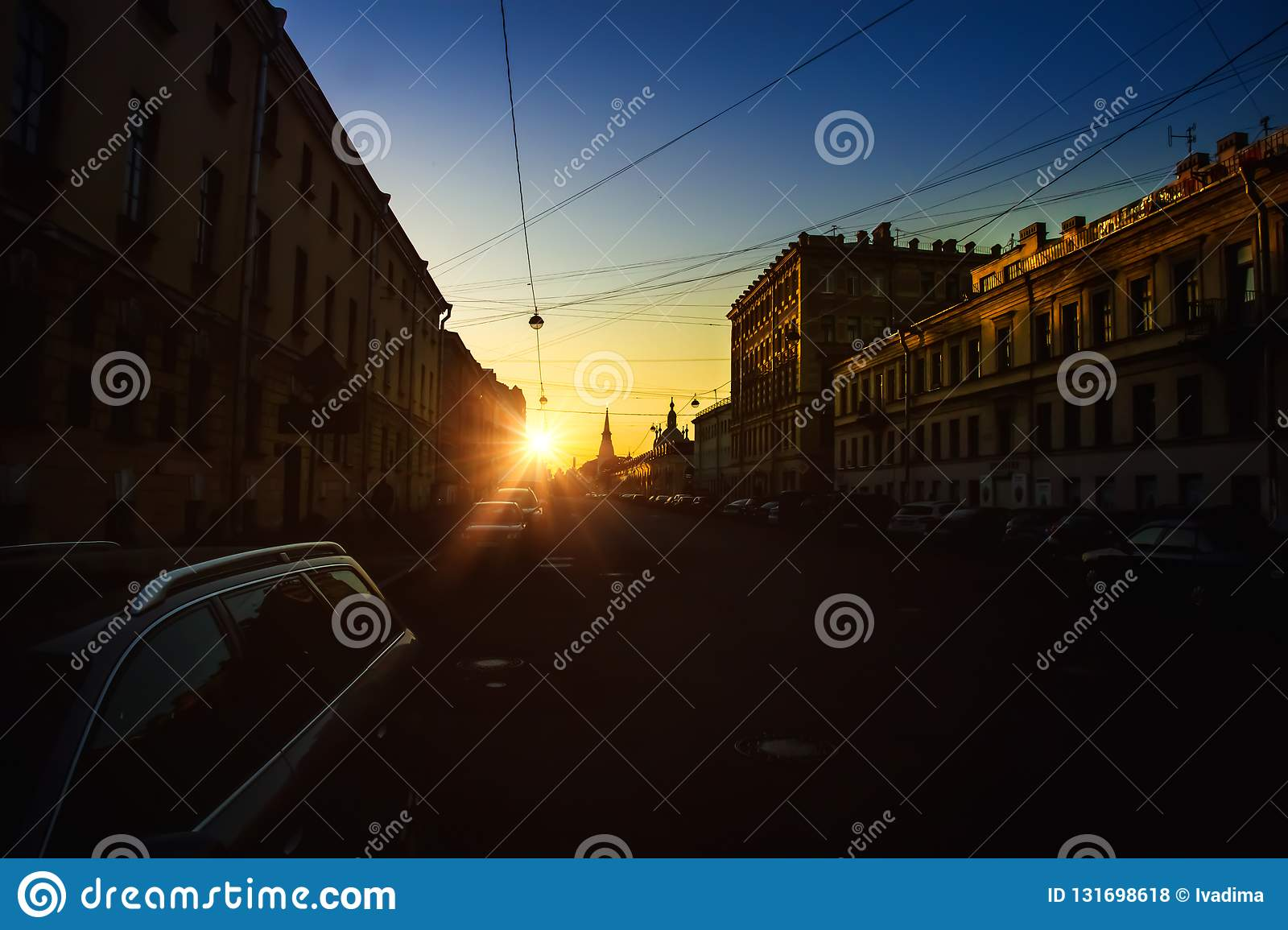 Late Evening, Vasilievsky Island, Dark Street, Evening