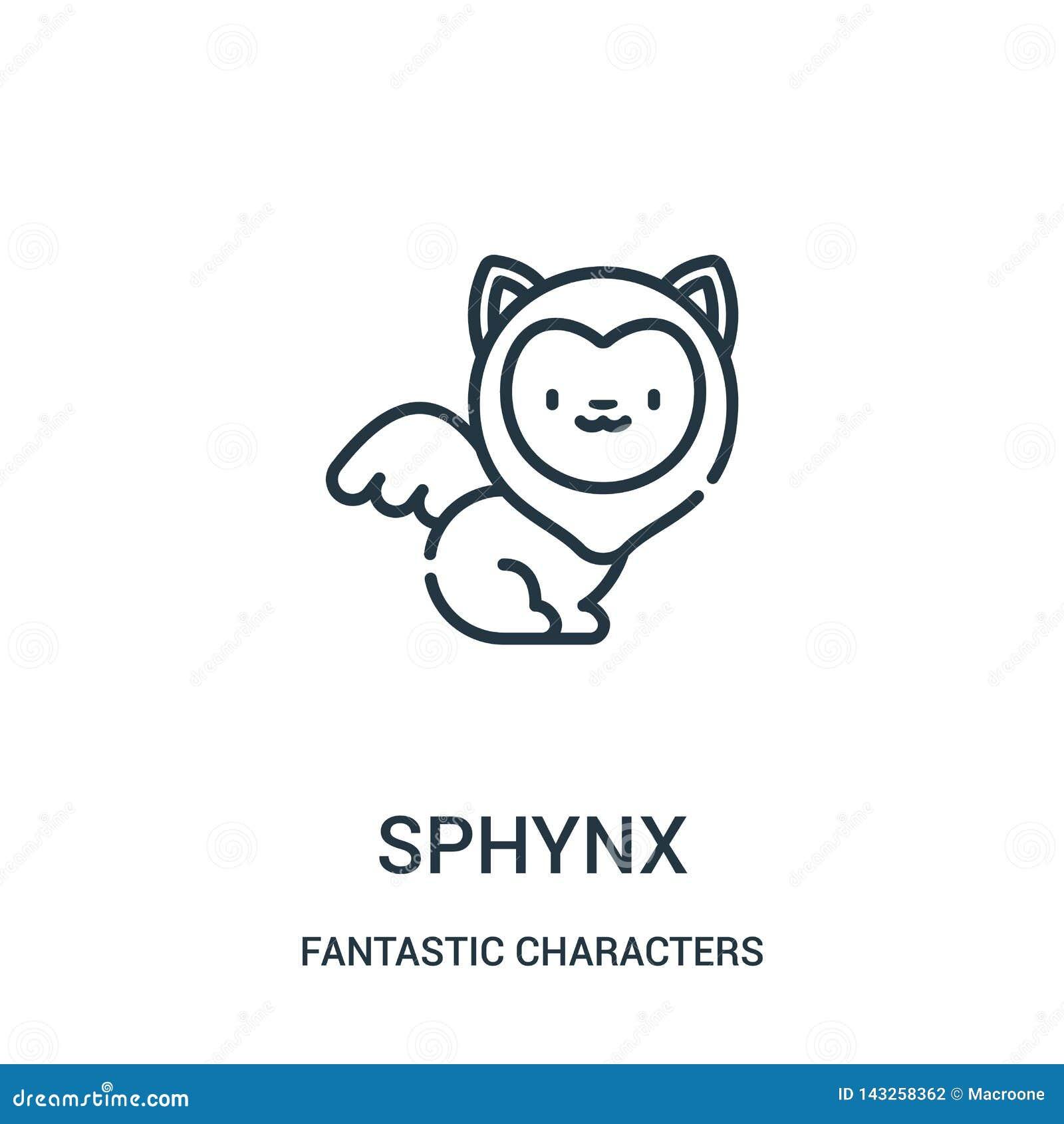 Sphynx διάνυσμα εικονιδίων από τη φανταστική συλλογή χαρακτήρων Η λεπτή γραμμή sphynx περιγράφει τη διανυσματική απεικόνιση εικον