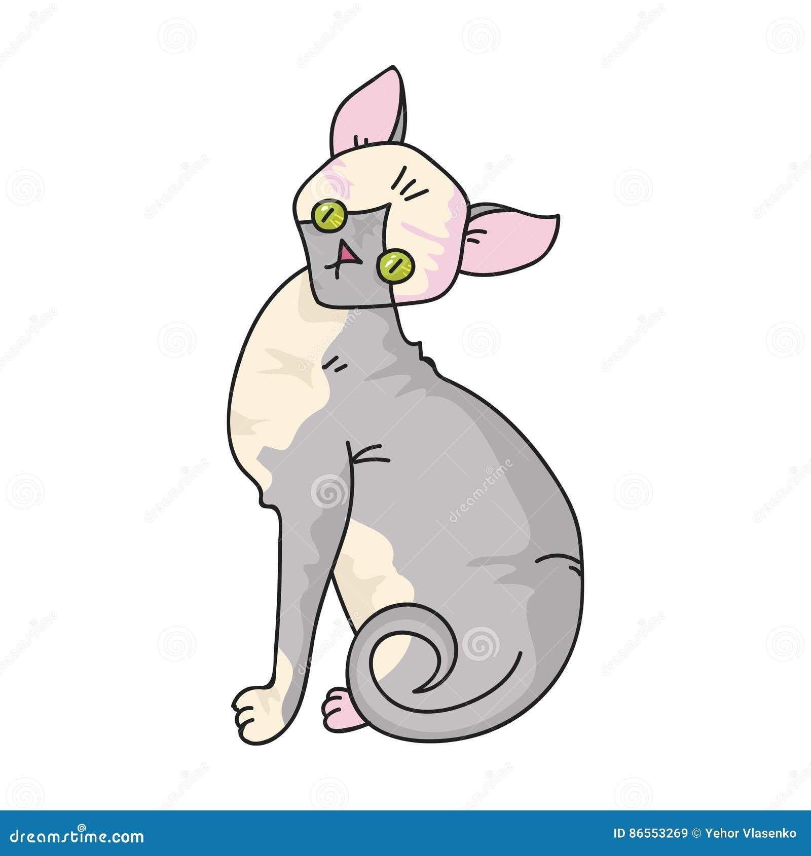 Sphynx ikona w kreskówka stylu odizolowywającym na białym tle Kotów trakenów symbolu zapasu wektoru ilustracja
