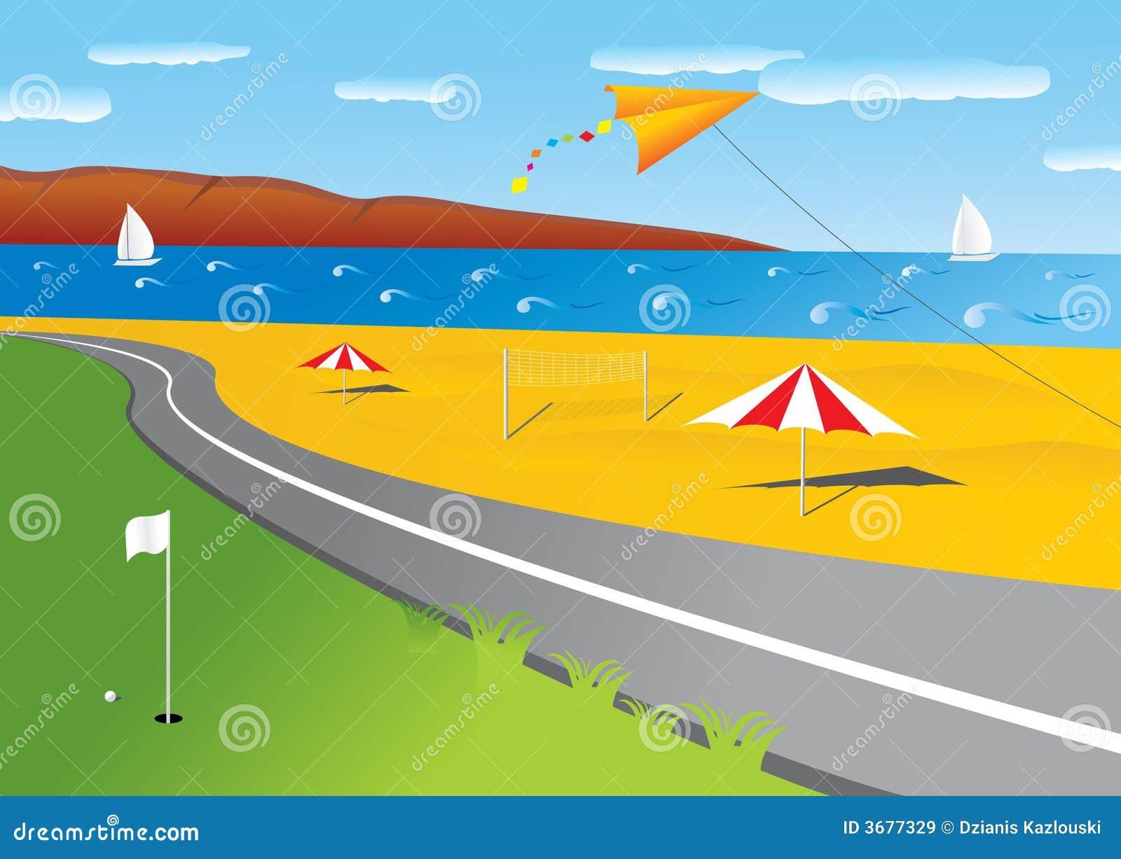 Download Spiaggia illustrazione vettoriale. Illustrazione di giorno - 3677329