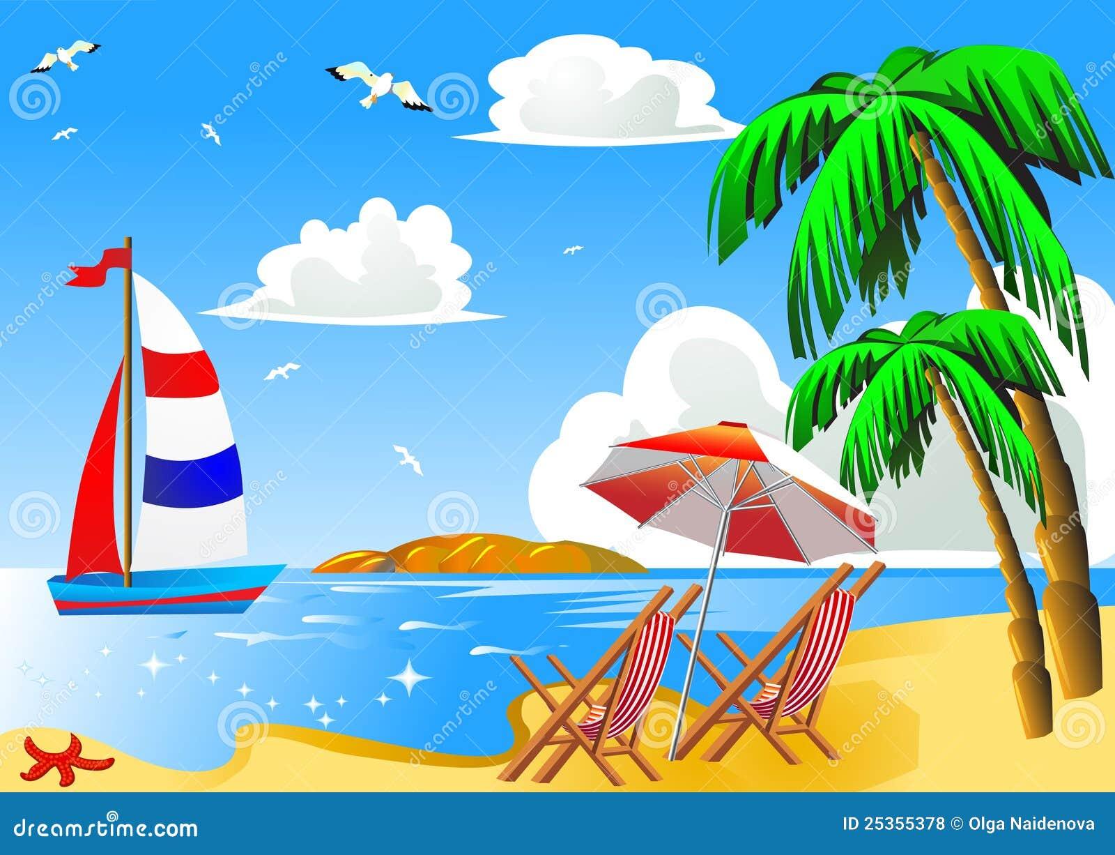 Spiaggia del mare con la palma in barca a vela for Disegno della casa sulla spiaggia