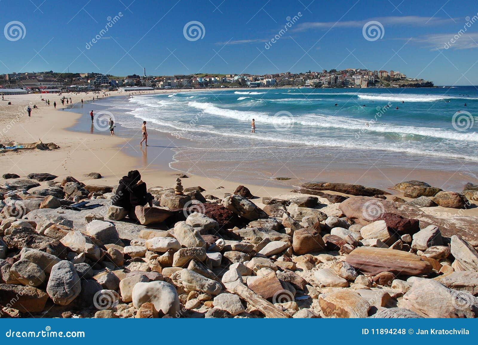 Spiaggia di Bondi con la gente, Sydney