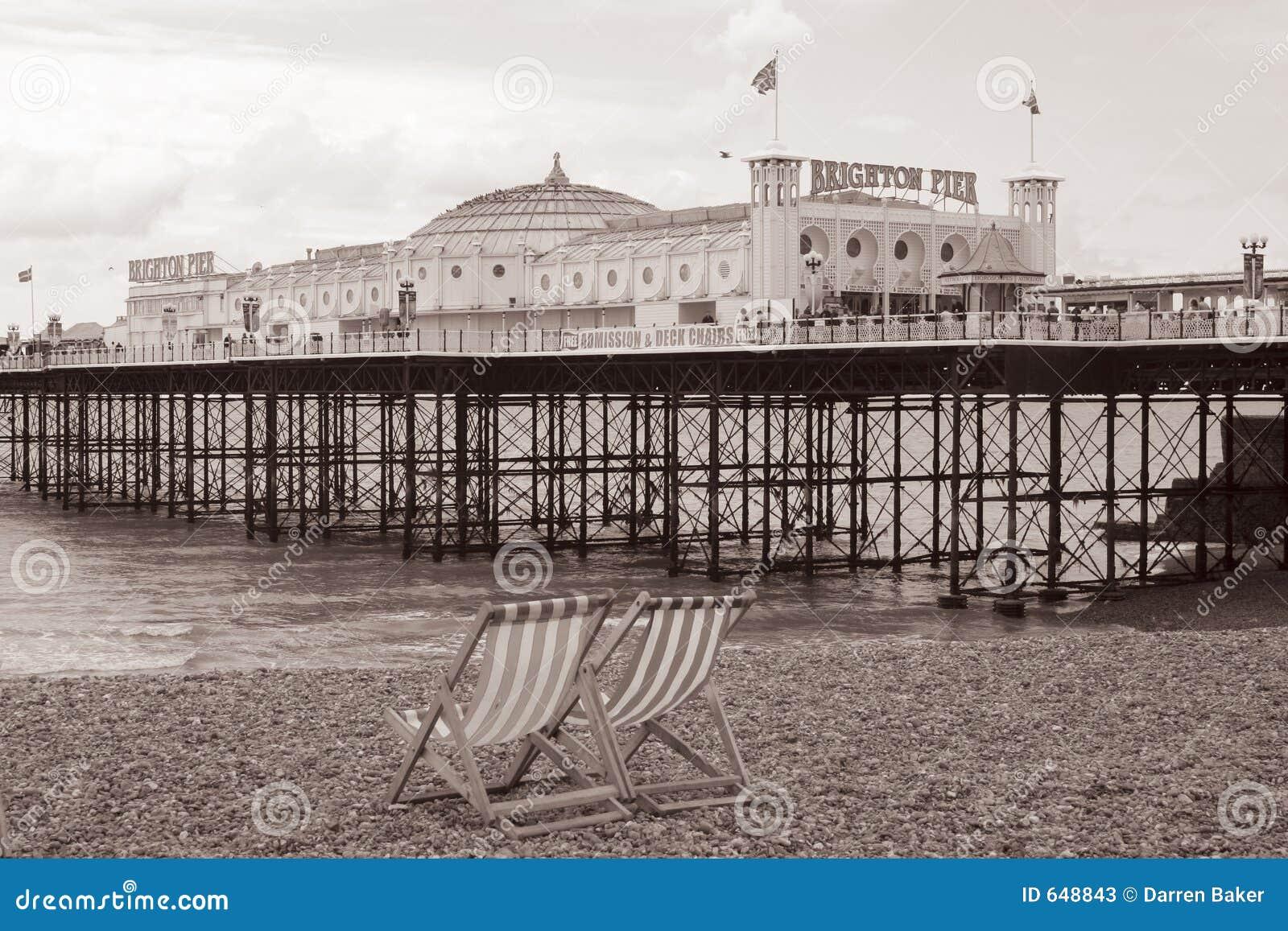 Spiaggia di Brighton dell annata, Inghilterra