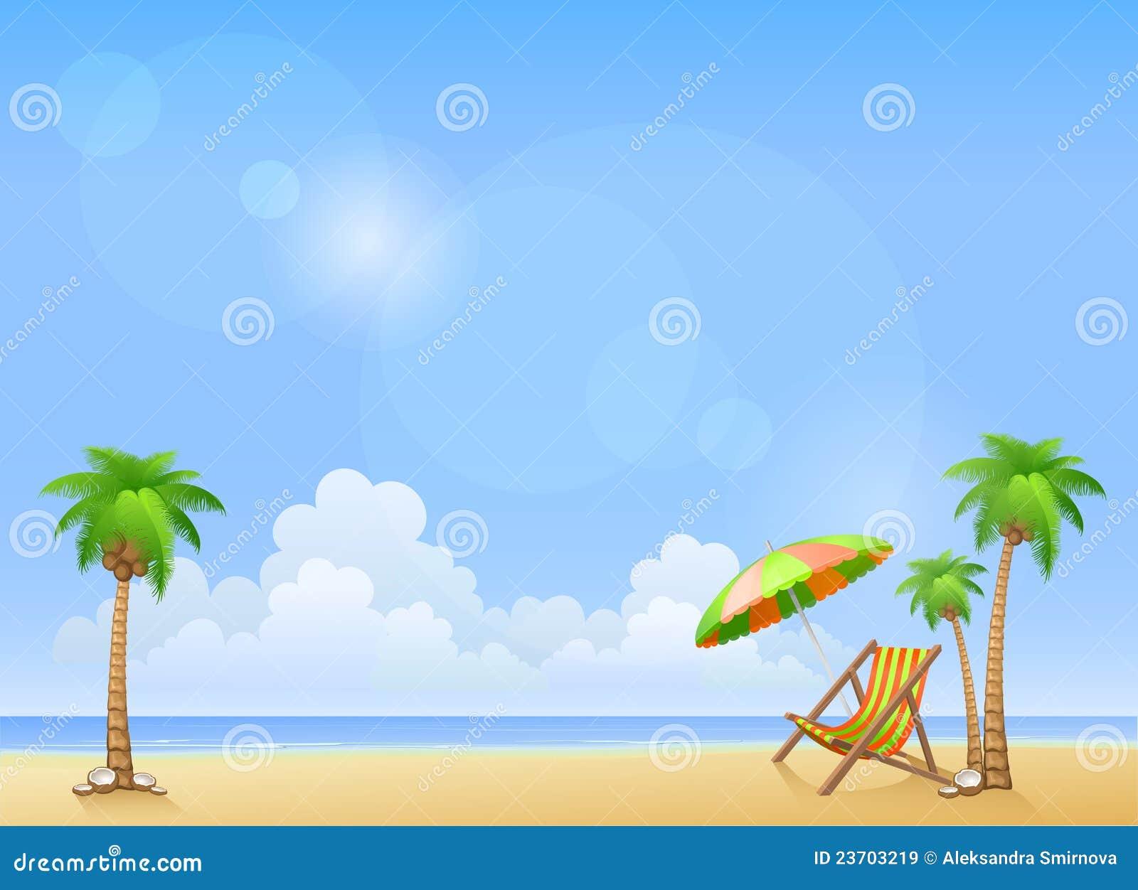 Spiaggia di estate con le palme ed il salotto del chaise for Disegni da camera da spiaggia
