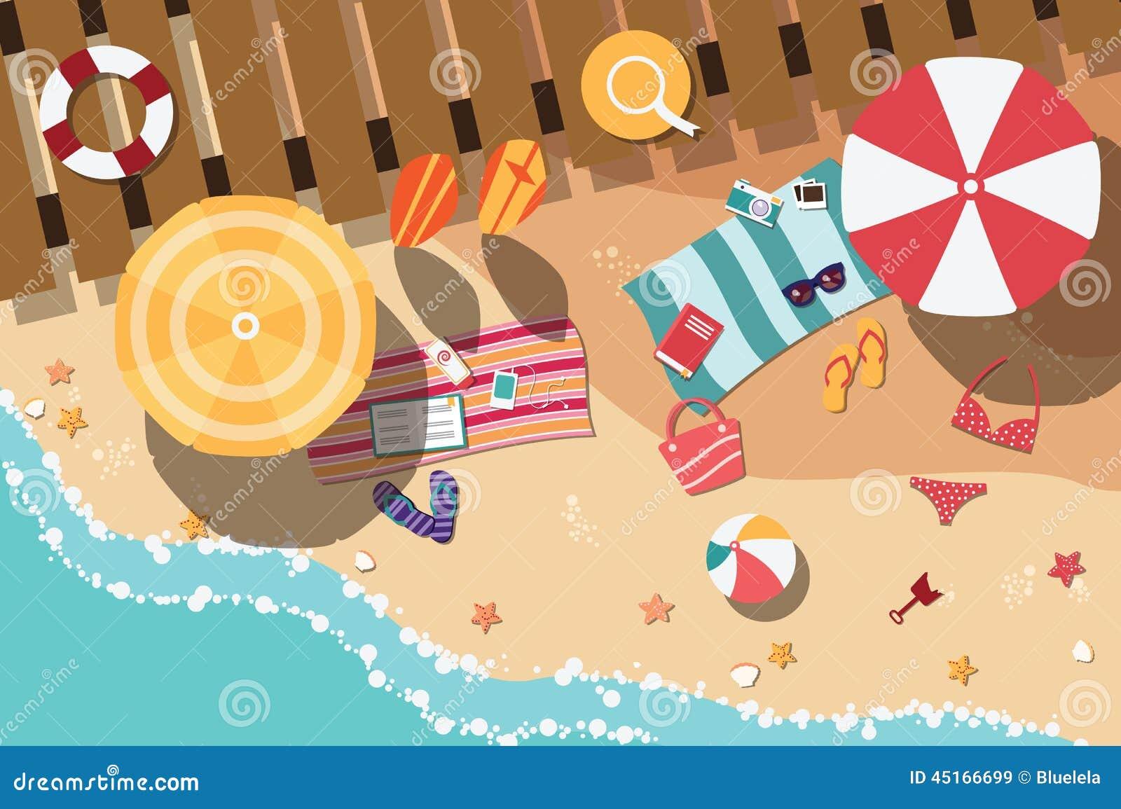 Spiaggia di estate negli oggetti piani di progettazione for Piani di progettazione del padiglione