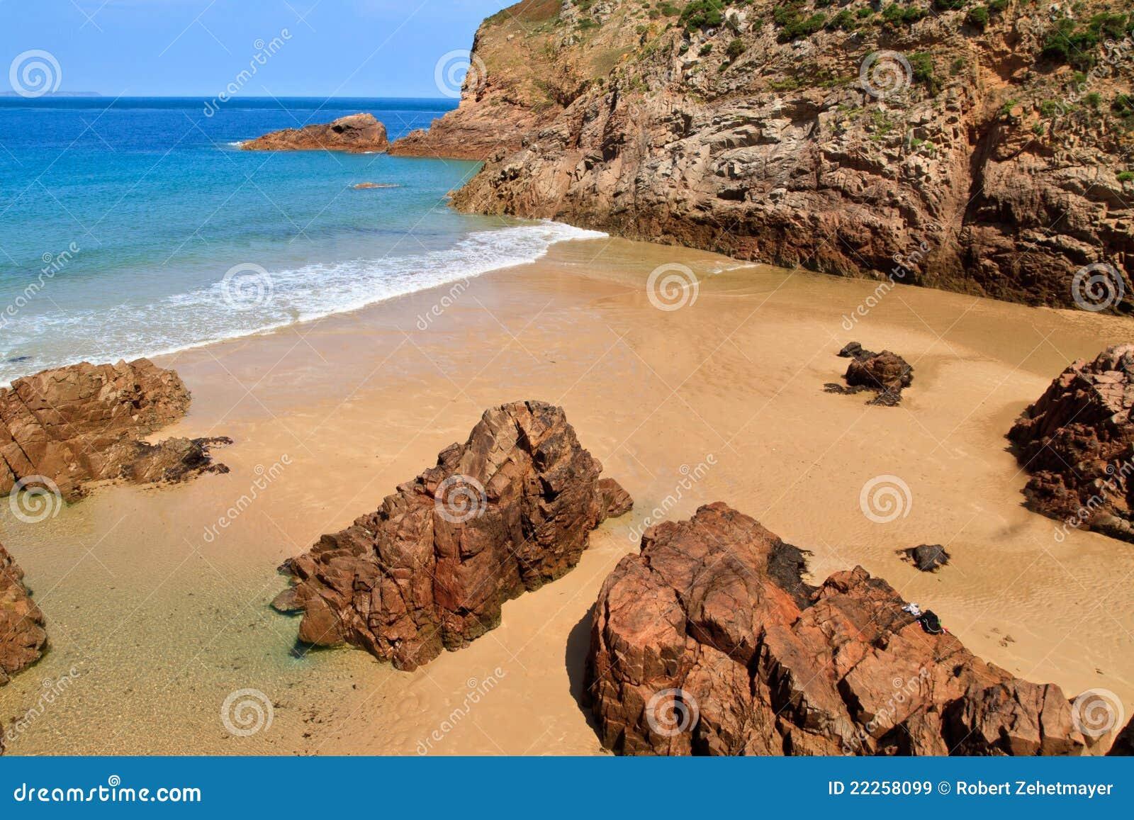 Spiaggia di Plemont, Jersey, isole della Manica, Regno Unito