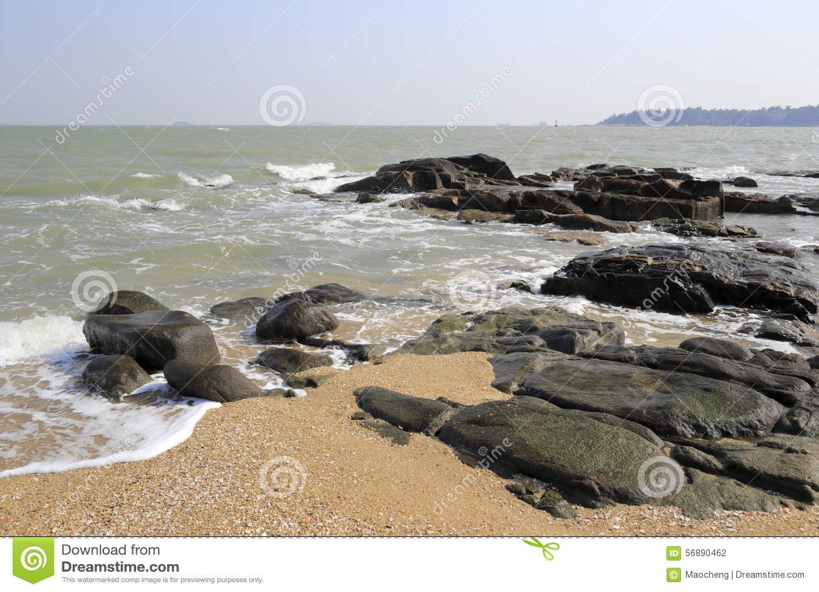 Spiaggia di sabbia della pietra dell isola di Xiaodeng