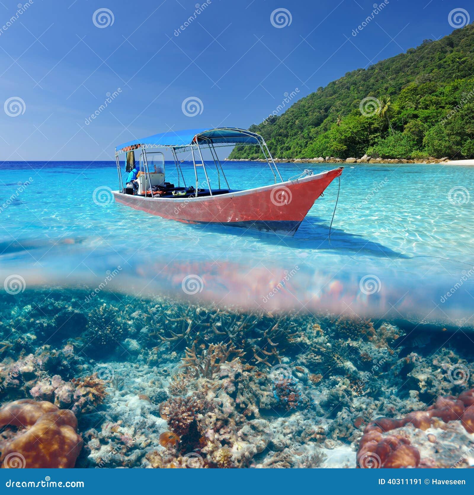 Spiaggia ed imbarcazione a motore con la vista subacquea della barriera corallina