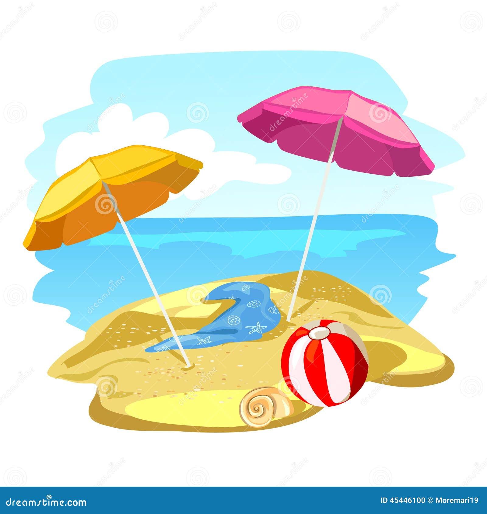 Disegni Di Spiaggia E Ombrelloni.Spiaggia Ed Ombrelloni Illustrazione Vettoriale Illustrazione Di
