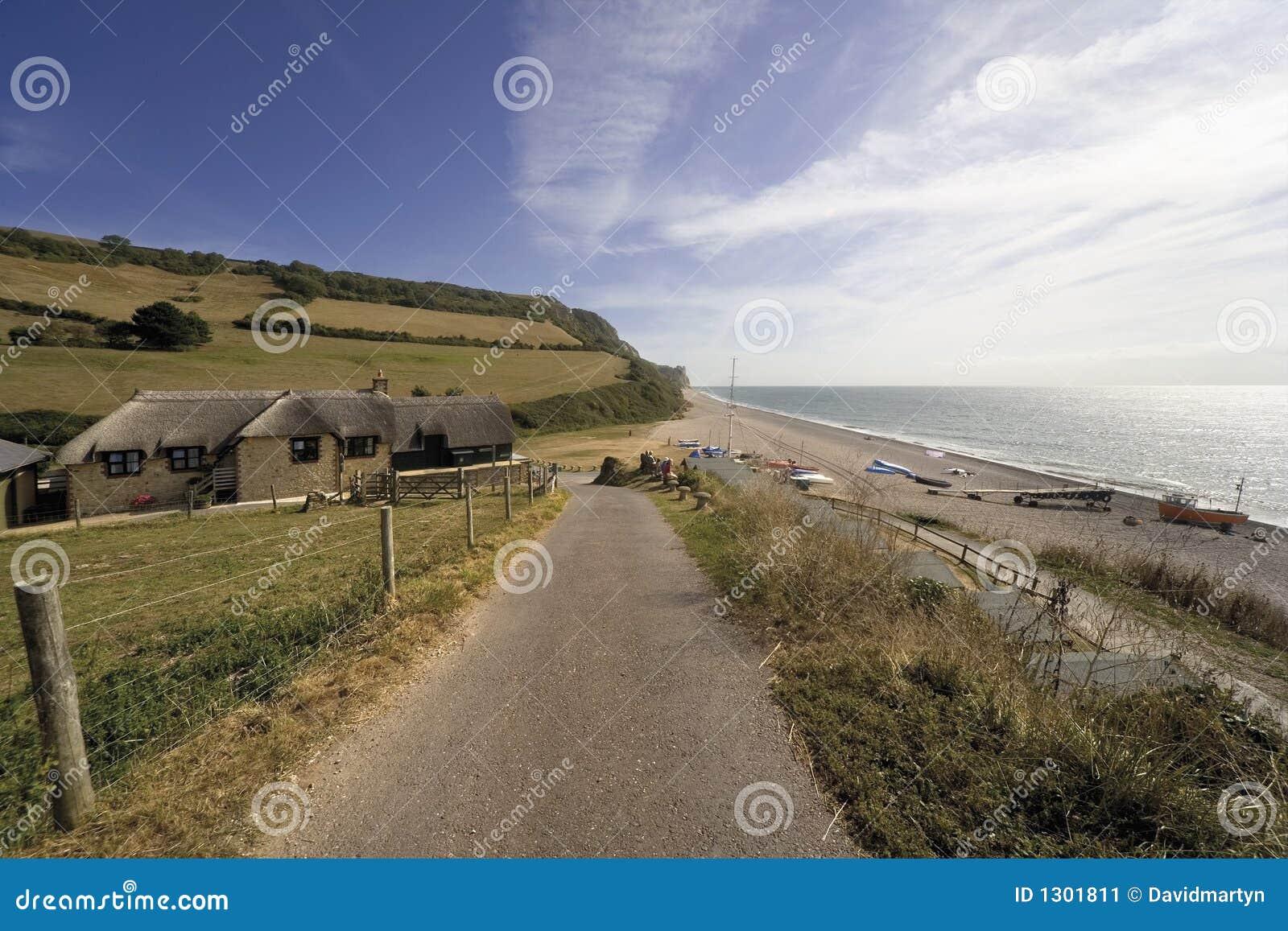 Spiaggia giurassica della bocca del branscombe del litorale dell Inghilterra Devon