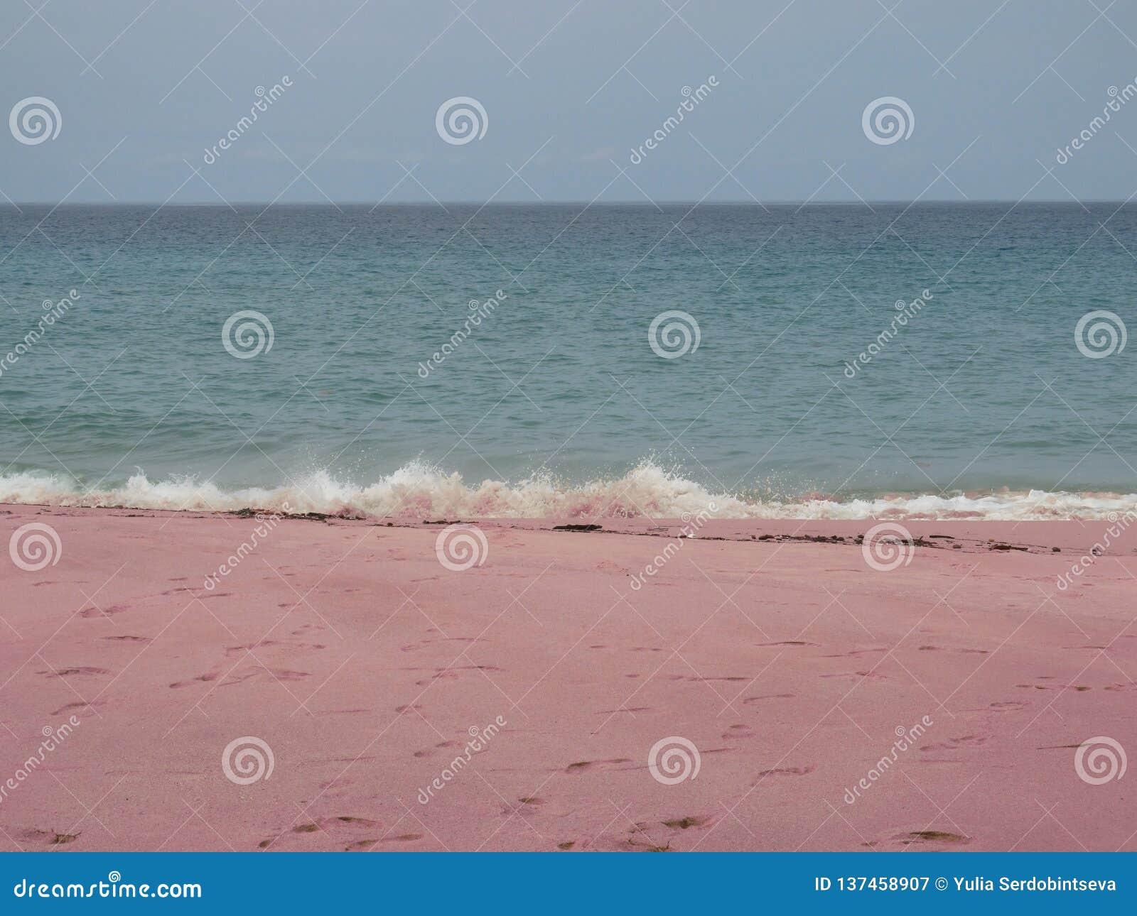Spiaggia sabbiosa rosa con le orme in sabbia e nelle onde di spruzzatura, fondo