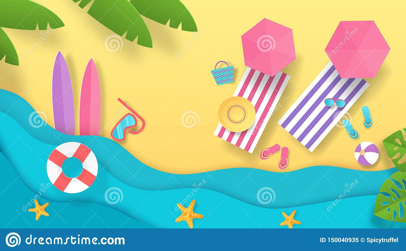 Spiaggia tagliata di carta di estate Fondo di vacanza con la vista superiore degli ombrelli e della spiaggia delle onde Manifesto