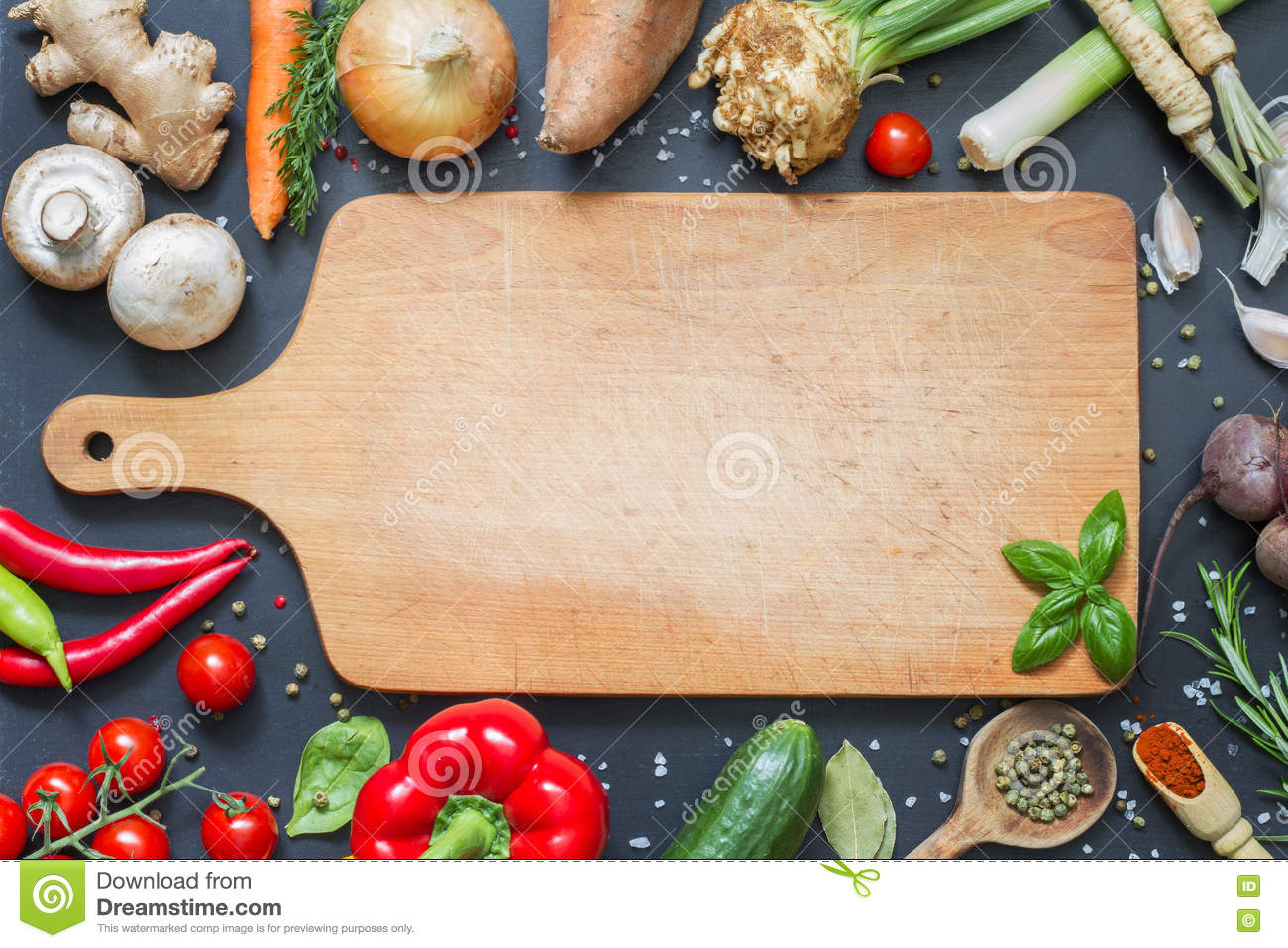 Spice Herbs And Vegetables Food Background And Empty
