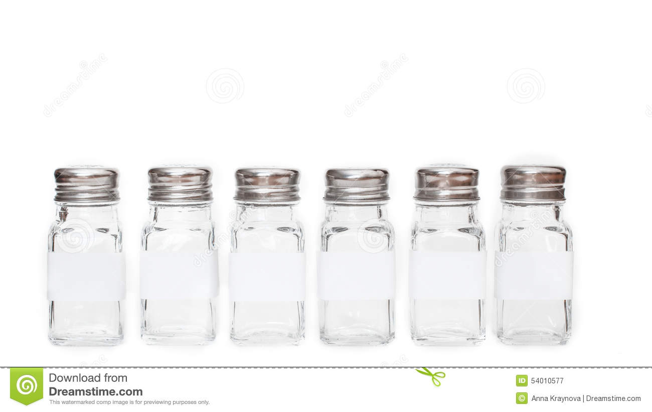 Spice jars with labels isolated