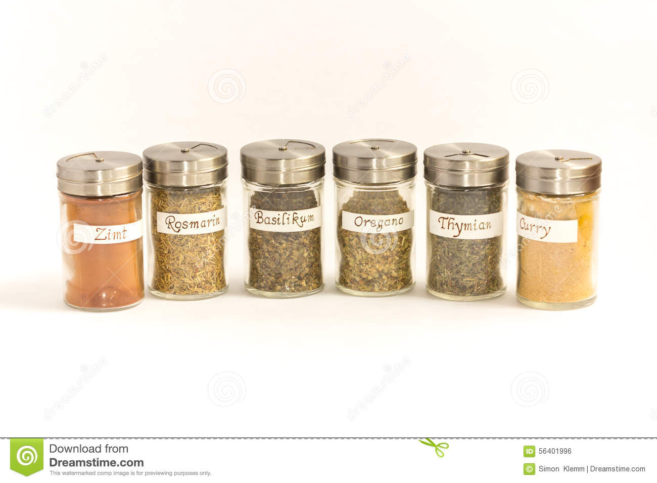 Spice Shaker Oregano Cinnamon Basil Thyme Curry Stock Photo - Image ...