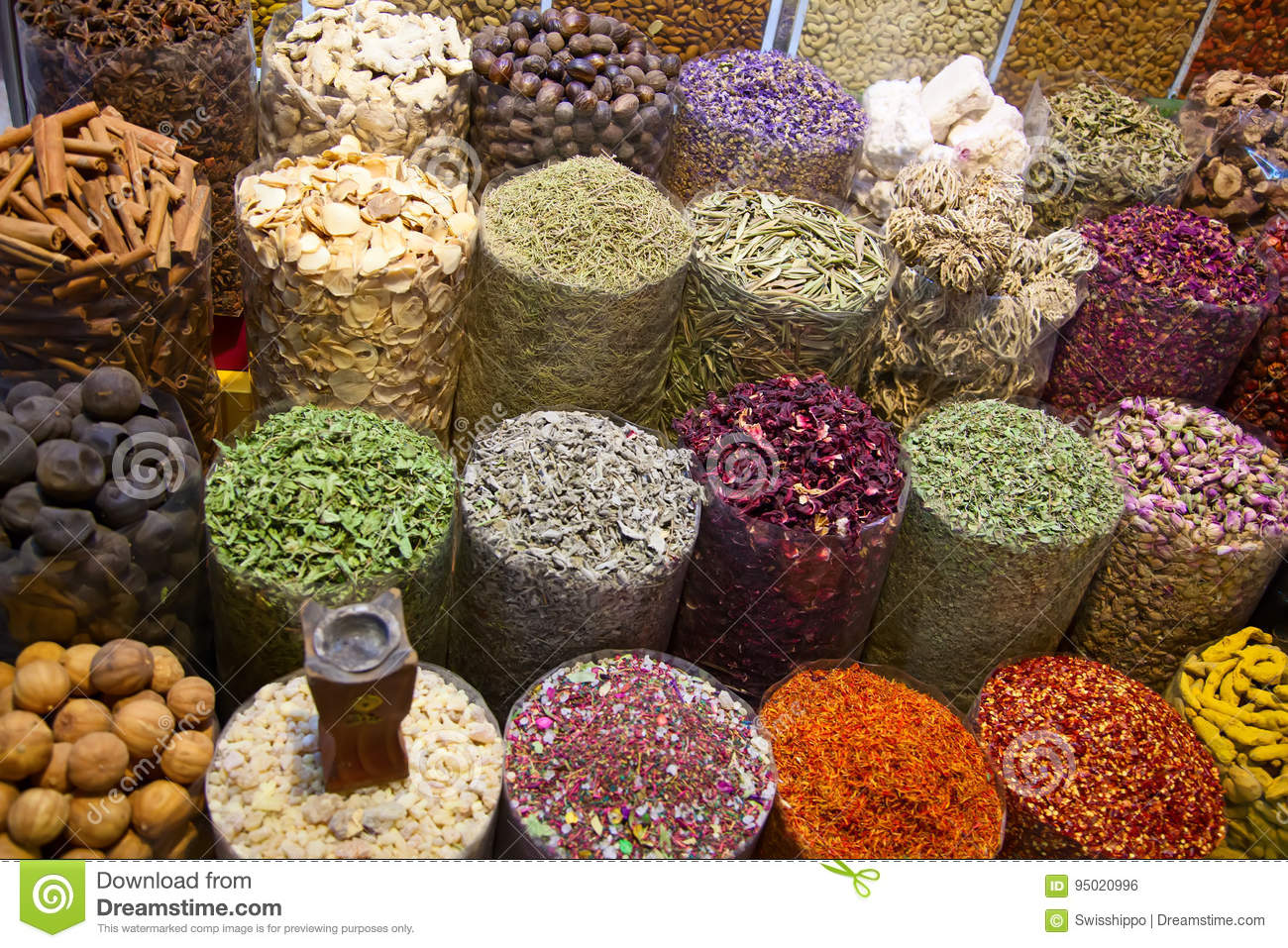 Spice souk in Dubai stock photo  Image of indian, place