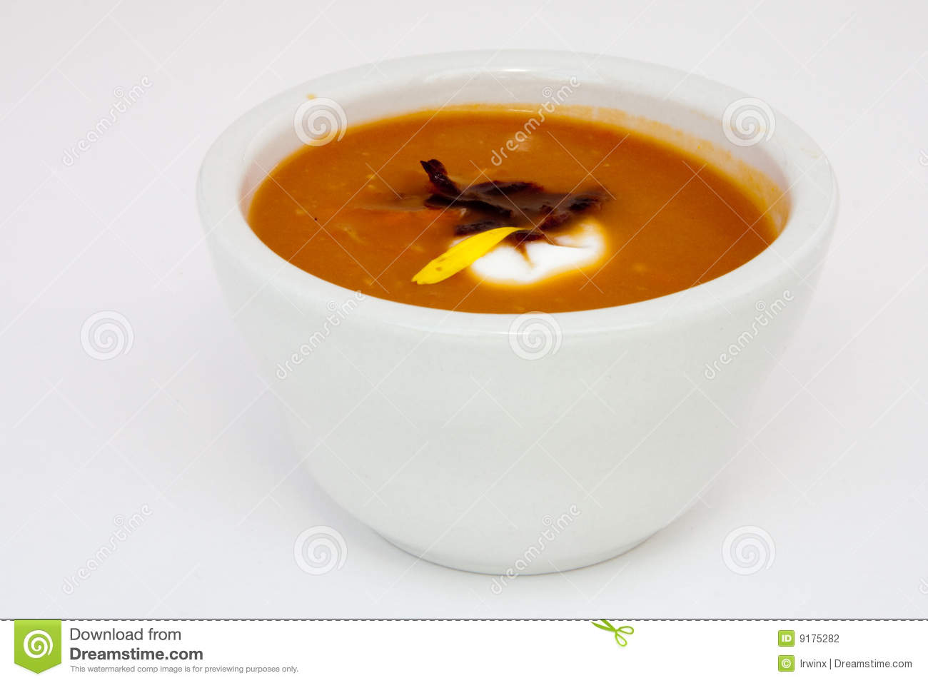 Spiced Chilled Carrot Soup with Yogurt and Ginger.