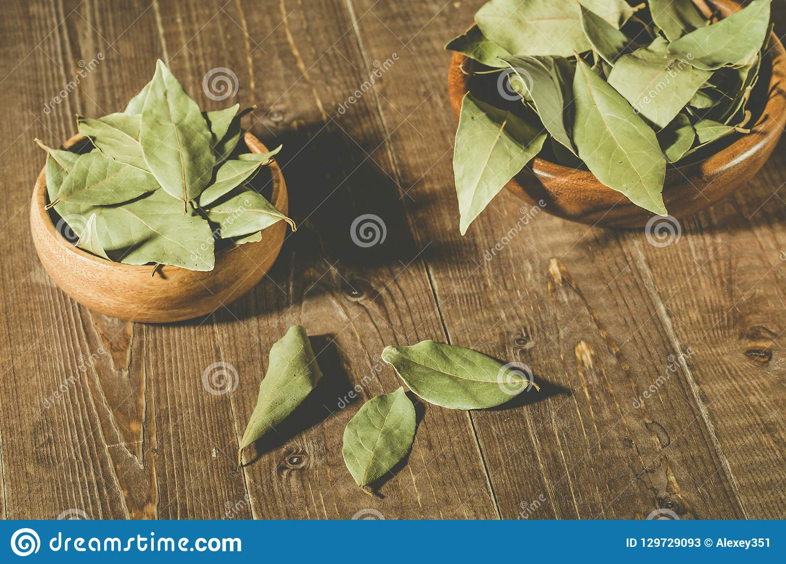 Spices of bay leaf in rural style on a wooden table/bay leaf in