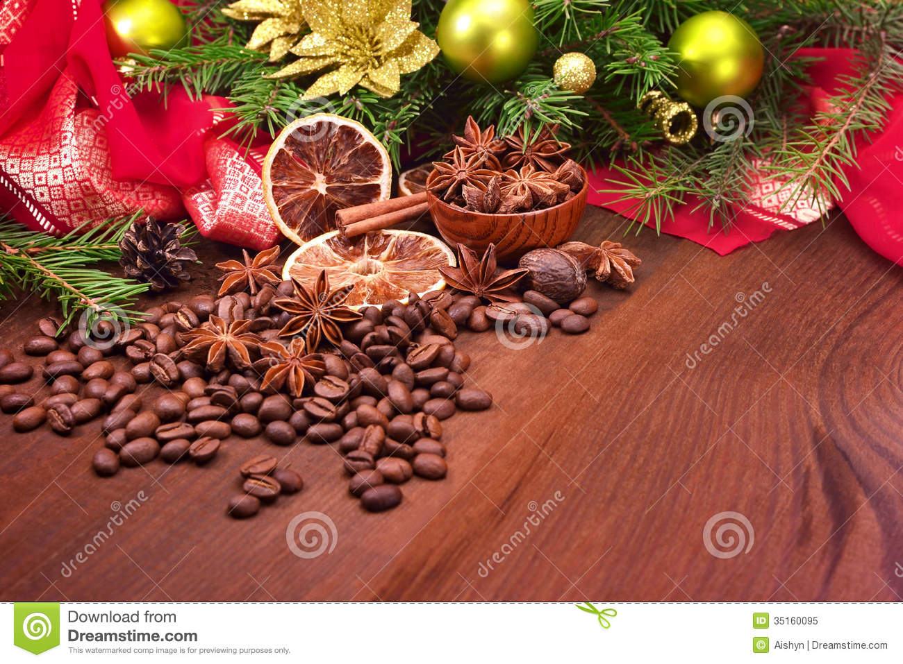 Coffee Christmas Ornaments.Spices And Christmas Tree With Decorations Stock Image