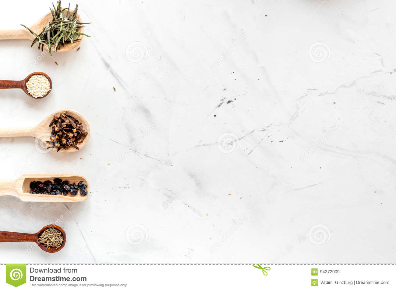 Spices, Cinnamon And Herbs On White Kitchen Table Background Top ...