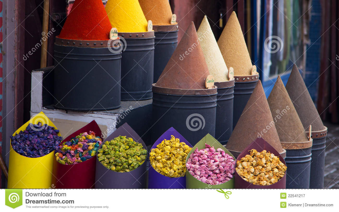 Spices and flower shop in Fez, Morocco