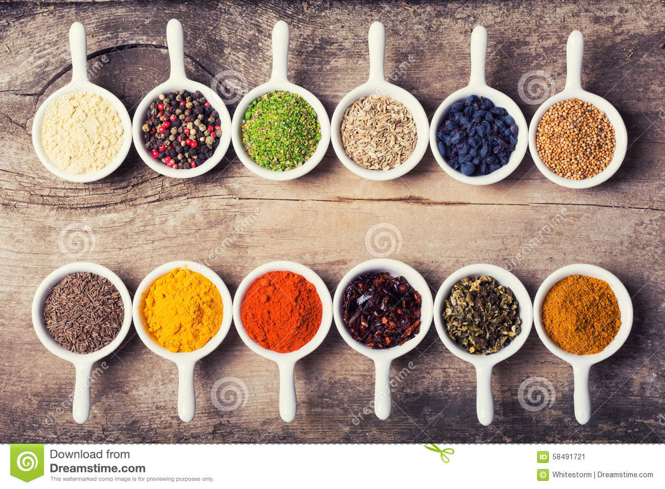Spices stock photo image 58491721 for Cuisine wooden
