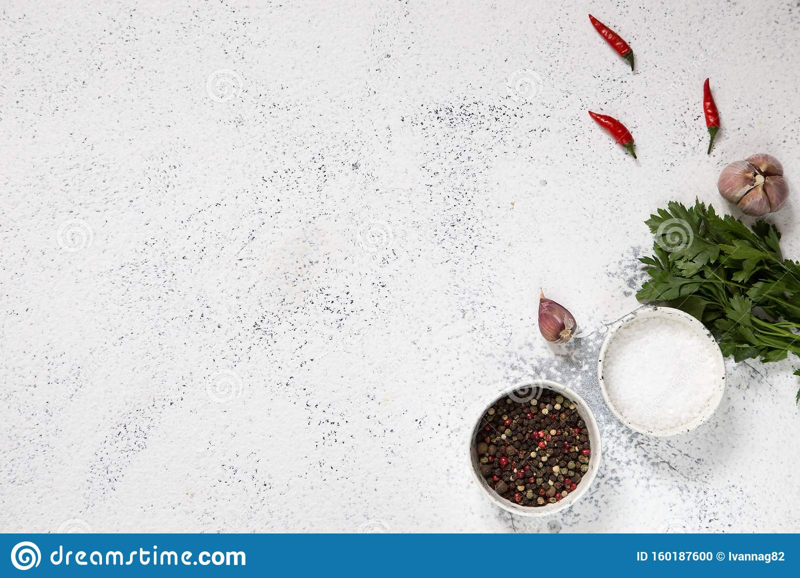 Spices Herbs For Cooking On White Concrete Backdrop Top View With Copy Space For Text Menu Recipe Mock Up Banner Background 4 Stock Photo Image Of Ingredient Above 160187600
