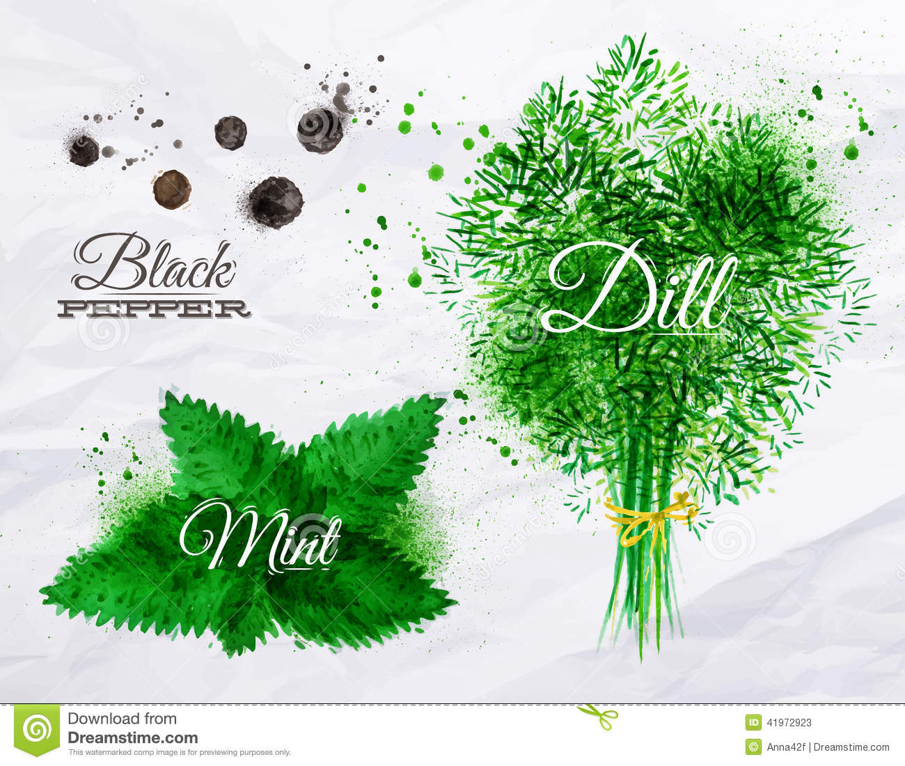 Spices herbs watercolor black pepper, mint, dill