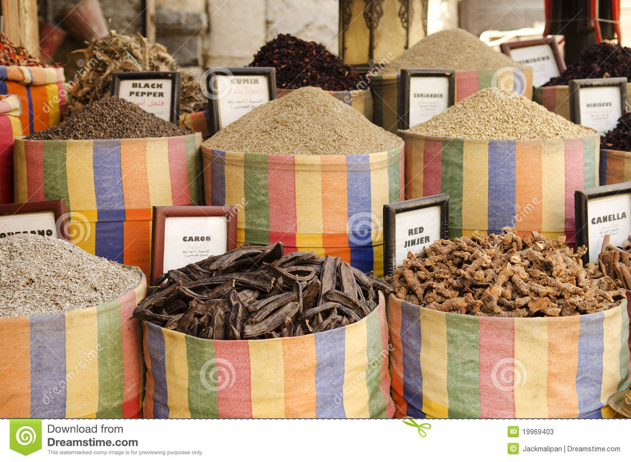 Spices and herbs at the bazaar, souk, Jerusalem, Israel ...   Middle East Spice Market