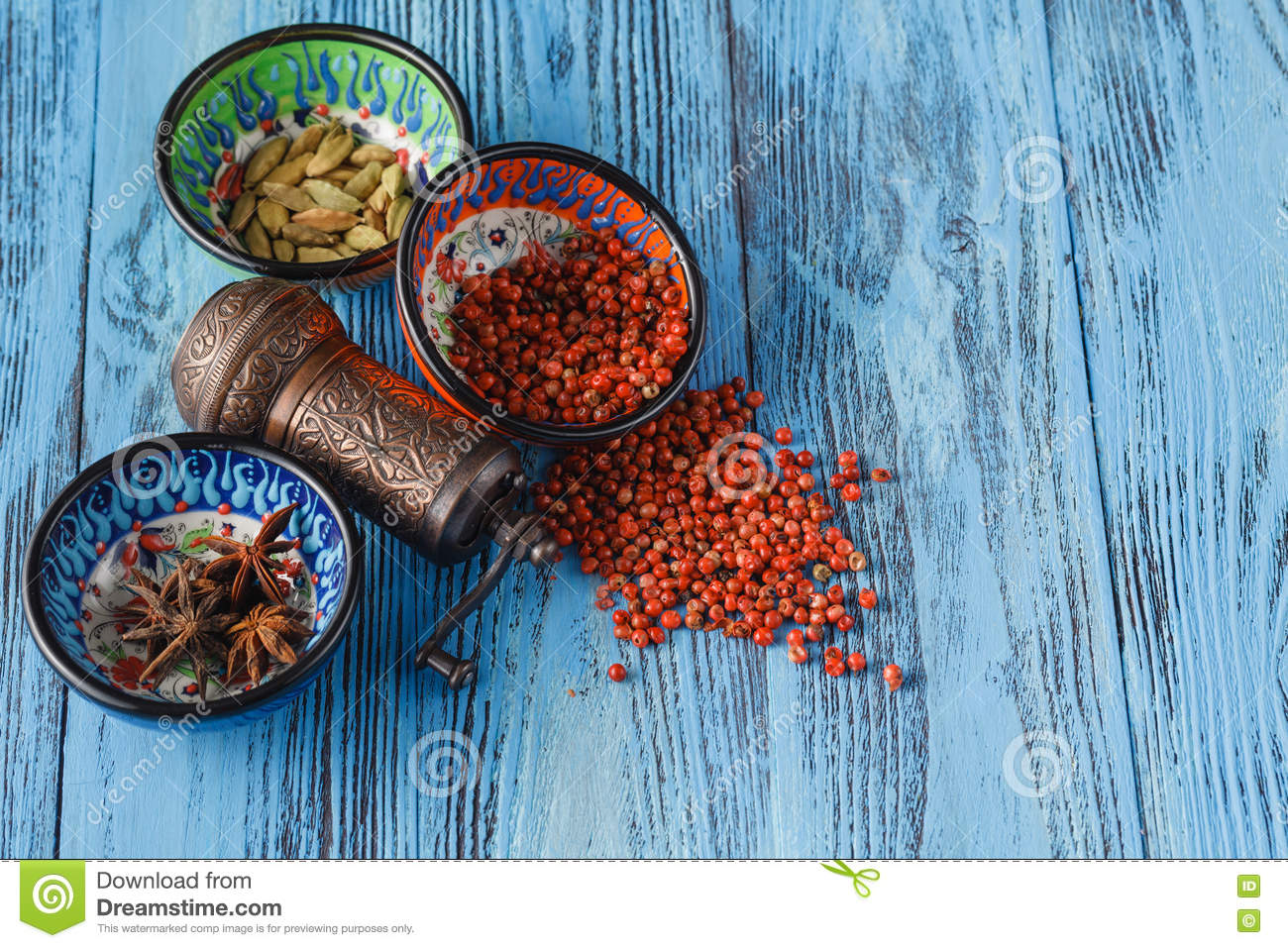 Spices Scattered On A Table And Mill Stock Image - Image of seed ...