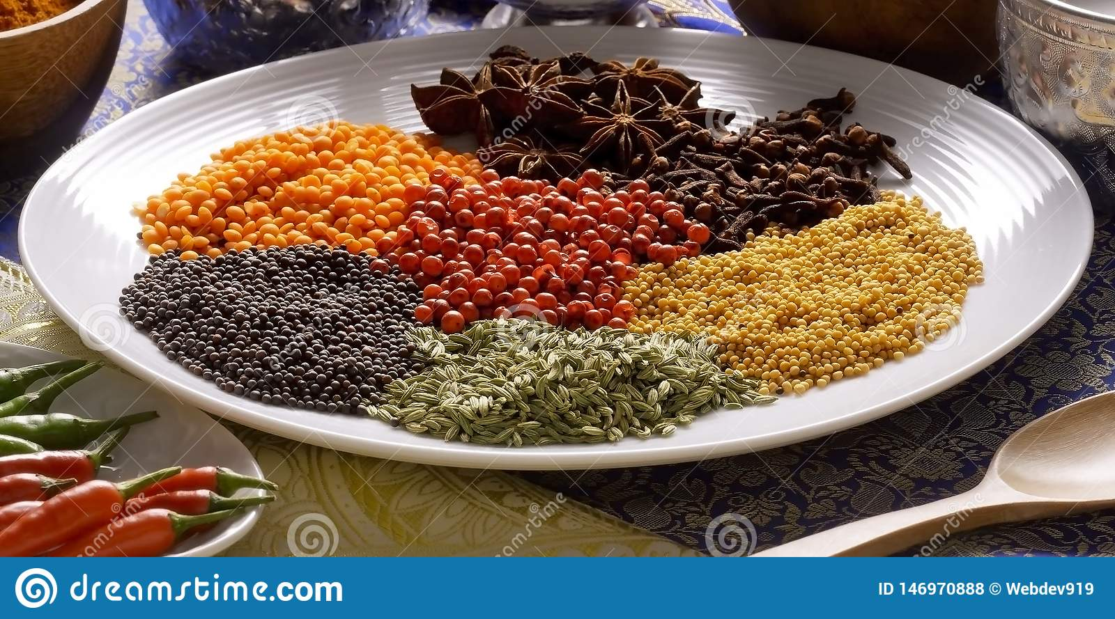 Spicies on the plate in India, grain, spicy seed
