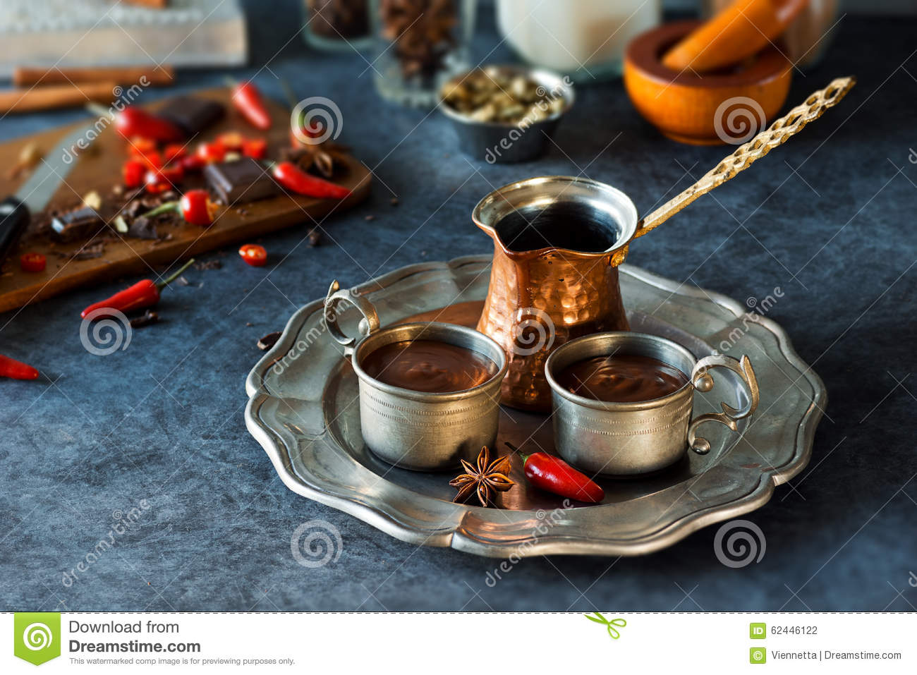 Spicy Aztec Hot Chocolate And Ingredients Stock Photo - Image ...