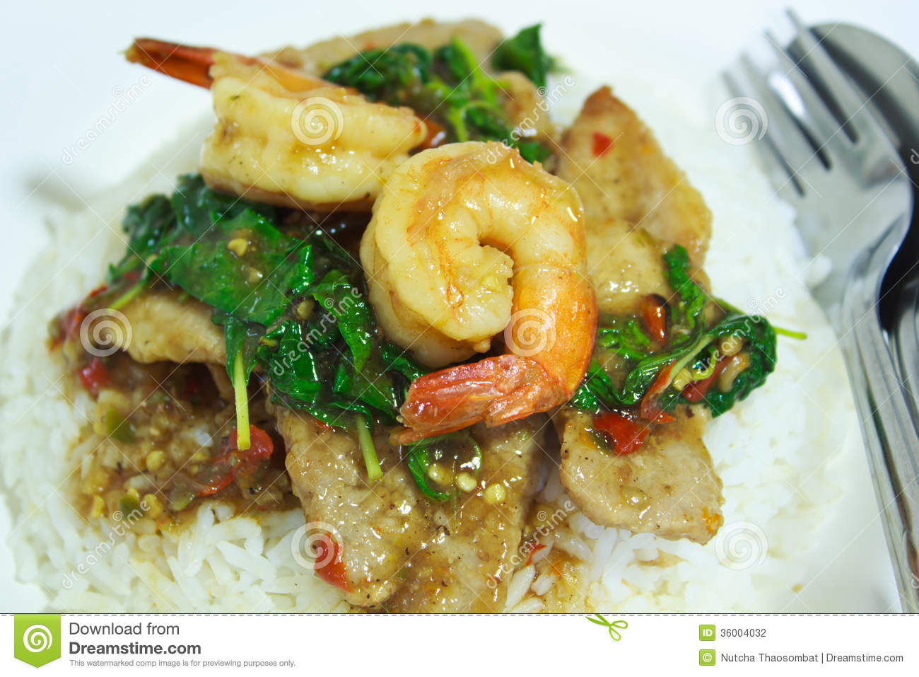 Spicy Basil Shrimp And Pork Fried With Rice. Stock Photography - Image ...