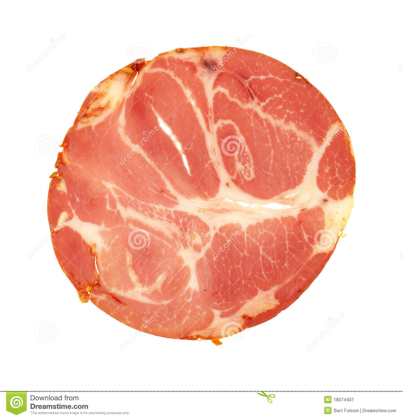 single slice of hot capicola lucheon meat on a white background.
