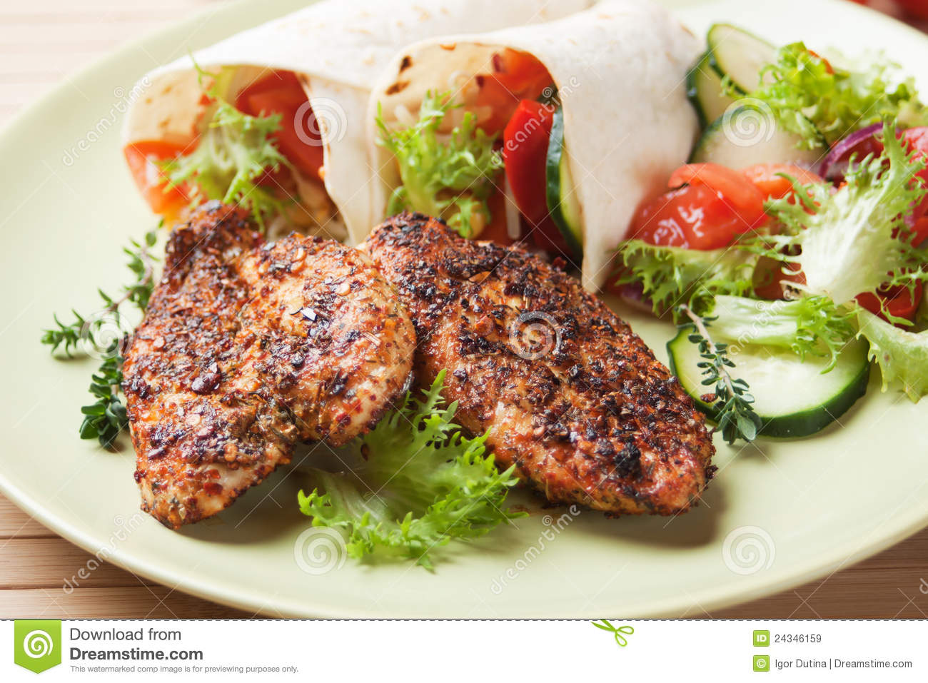 Spicy Chicken Breasts With Vegetable Salad Royalty Free Stock Images ...