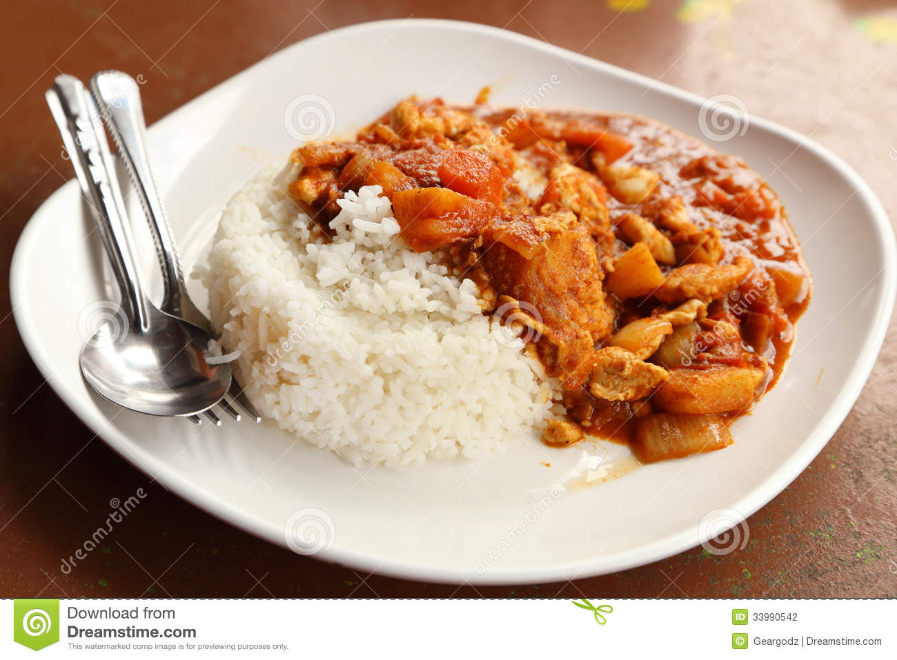 Spicy Chicken Curry And Rice Stock Photography - Image: 33990542
