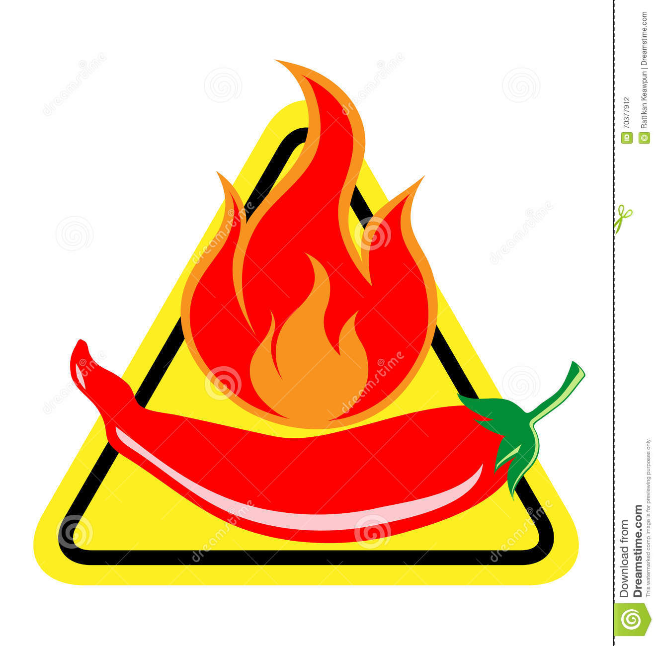 Spicy Chili Pepper Warning Sign Stock Vector - Image: 70377912