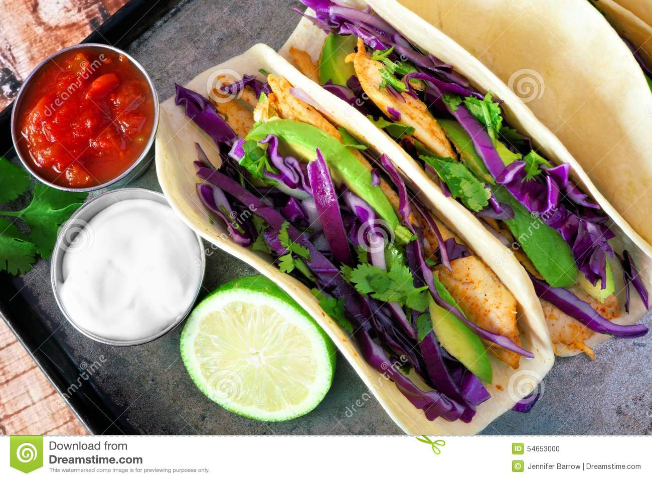 Spicy Fish Tacos With Red Cabbage Slaw, Overhead View Stock Photo ...
