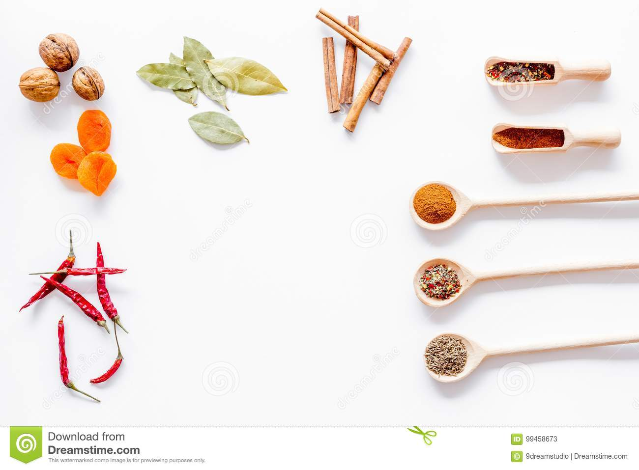 Spicy Food Cooking With Spices And Dry Herbs White Kitchen Desk