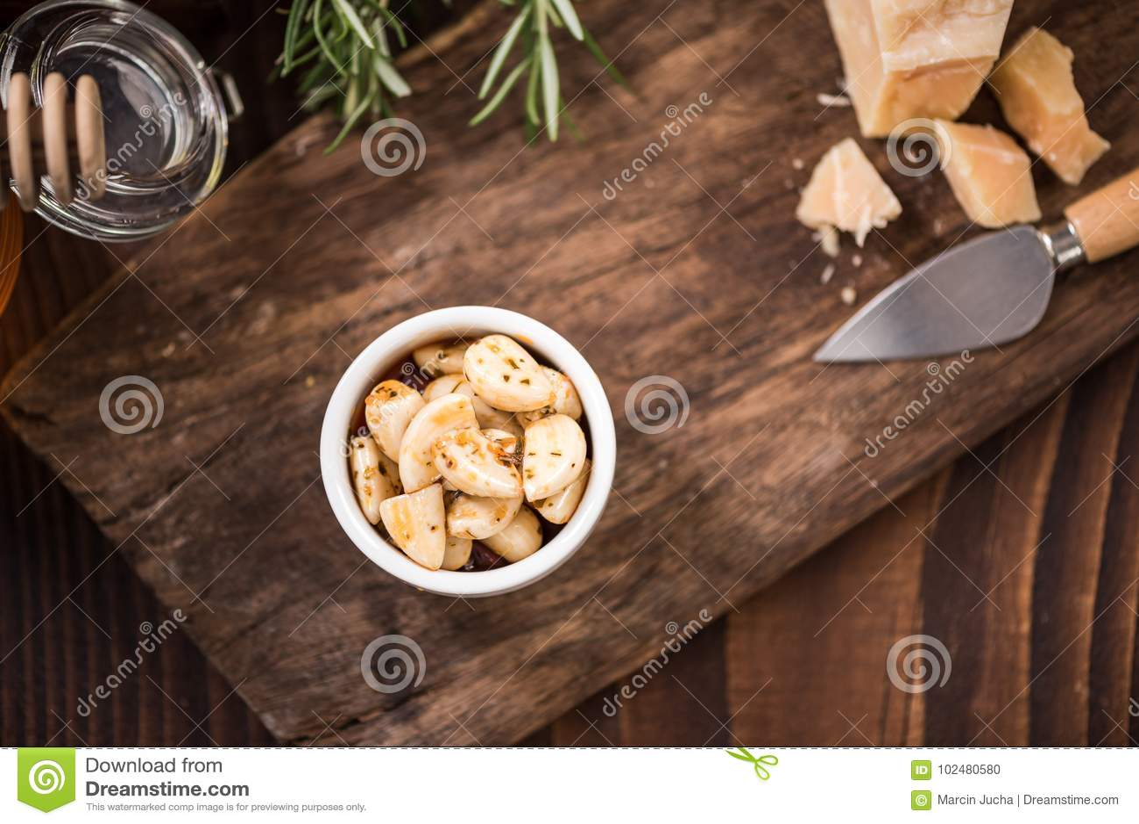 Spicy Garlic Cloves In Bowl,spanish Tapa Bar Food Stock Photo ...