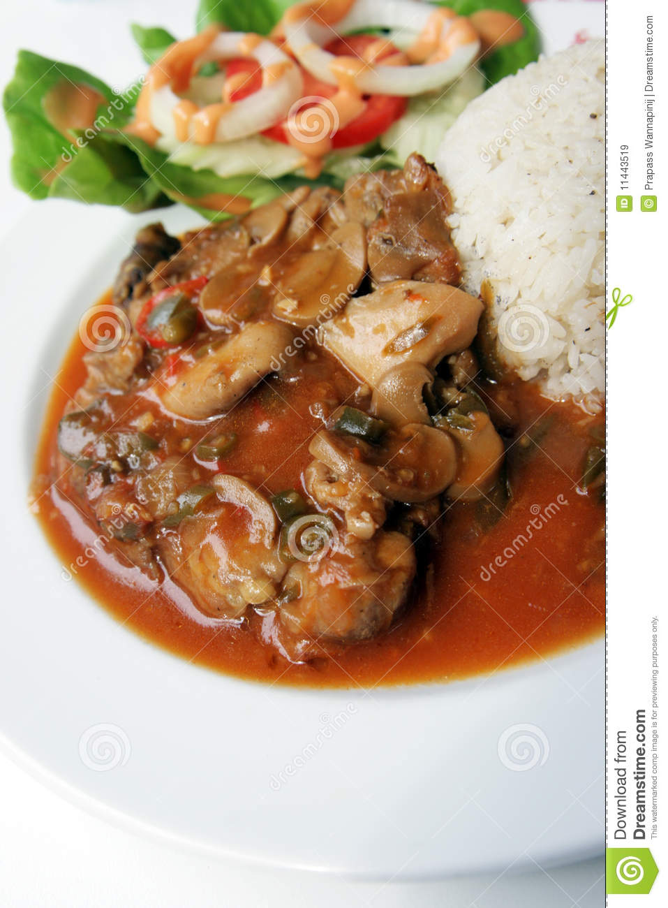 Spicy Herb Chicken And Mushroom Serve With Rice Stock ...