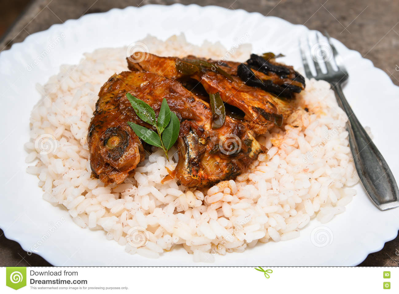 Spicy Hot Fish Curry And Rice From Kerala India Stock Photo Image