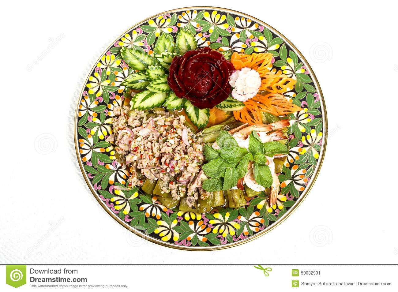 Spicy Pork Salad Decorated By Carving Vegetable Stock Image Image
