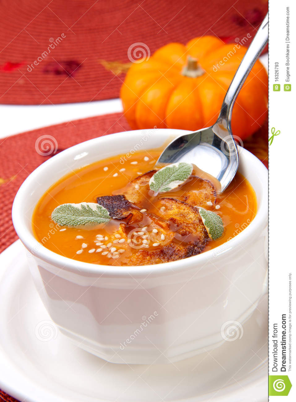 ... spicy roasted pumpkin soup with pumpkin crisps, sage and sesame seads