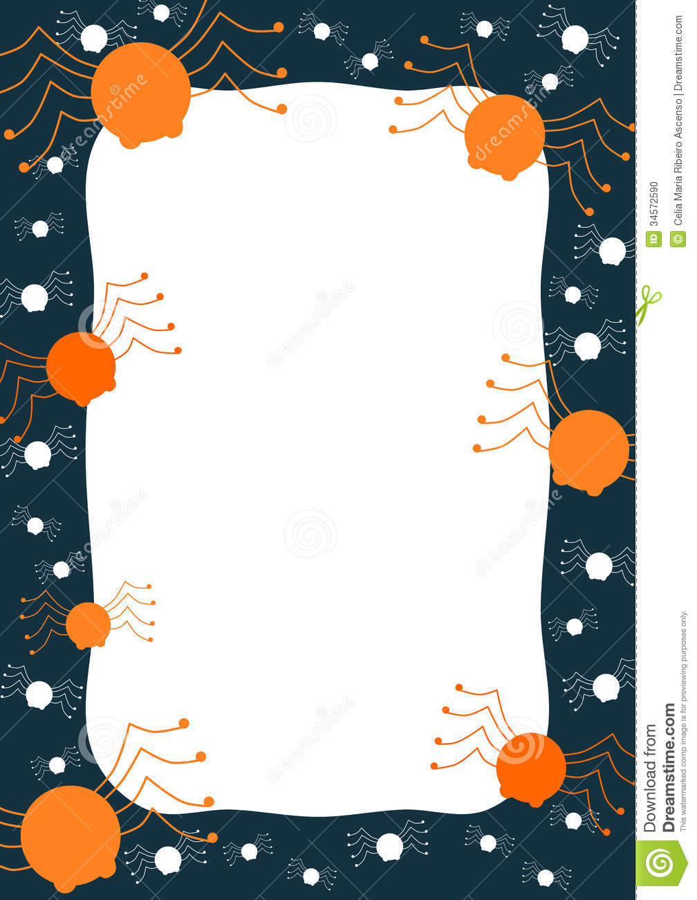 Halloween Party Invitation Card With Spiderwebs And Spiders